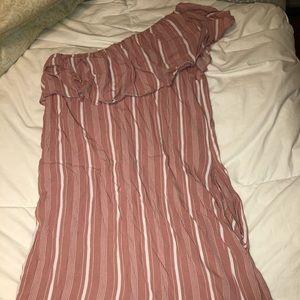 Pink off the shoulder white striped dress